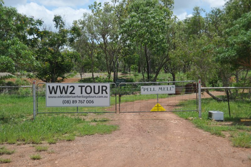 Entrance to property upon which sits the remnants of the 4RSU unit alongside the Pell Airstrip that is located along the Stuart Highway.