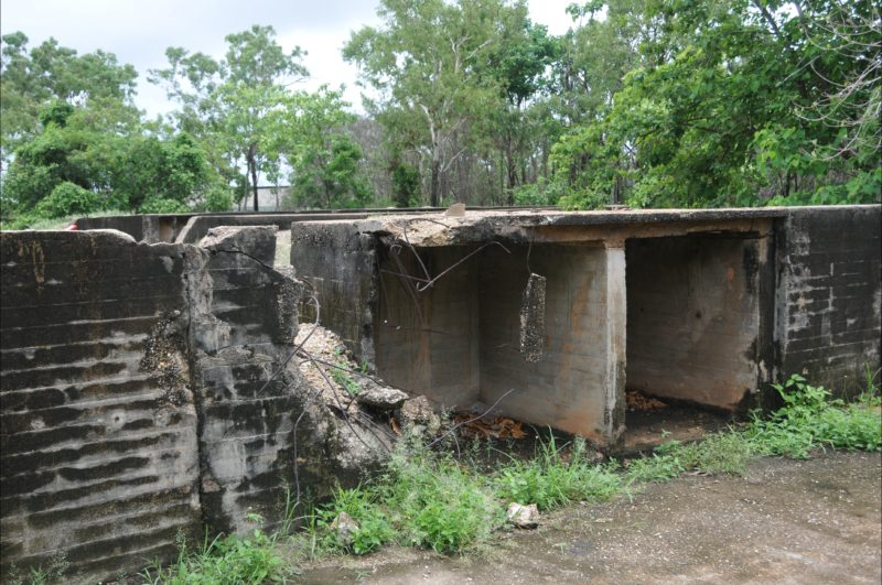 Deterioration of the concrete at one of the gun locations