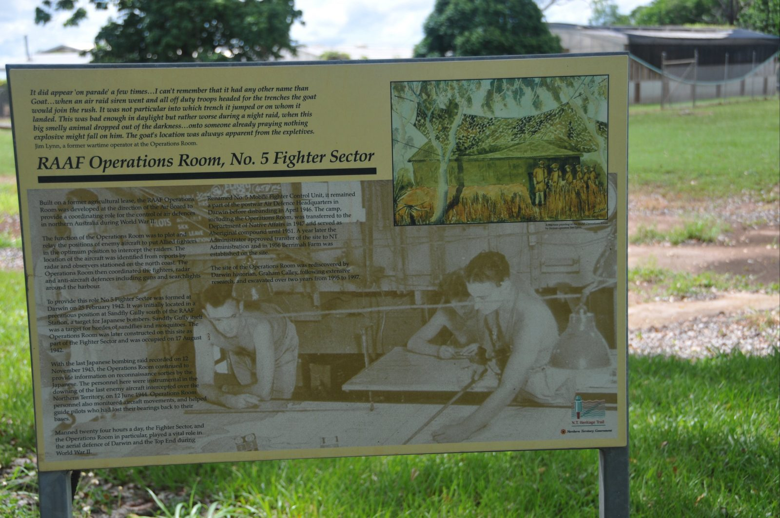 Interpretative signage at the site. A small circular brass plaque indicating the site is on the NT Heritage Register has been removed from the site.