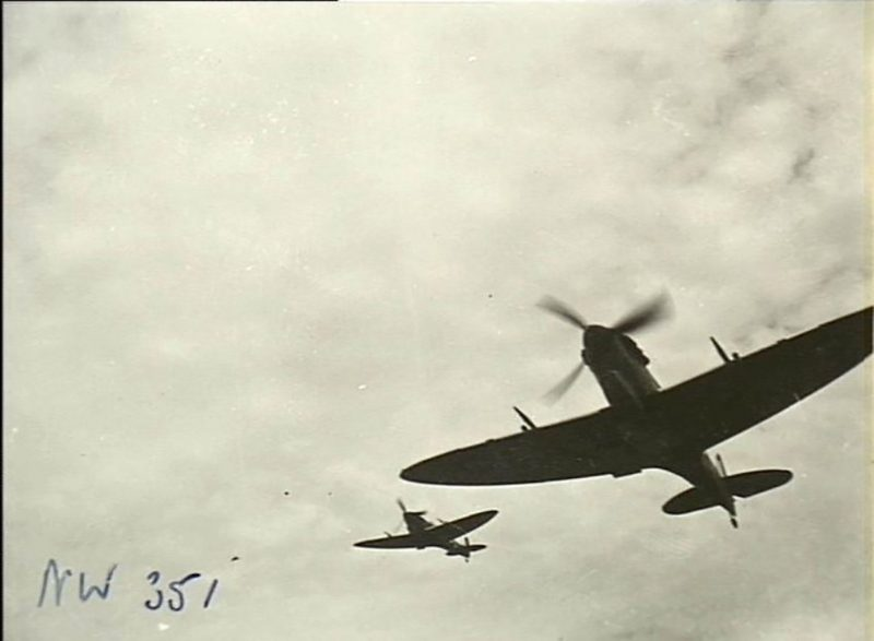Supermarine Spitfire over Strauss Airfield, 1943.