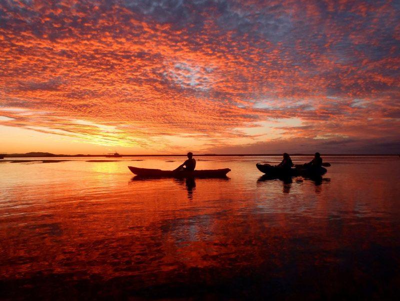 Kayaking at sunset in 1770