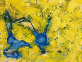 abstract painting in yellows greens and blue colours