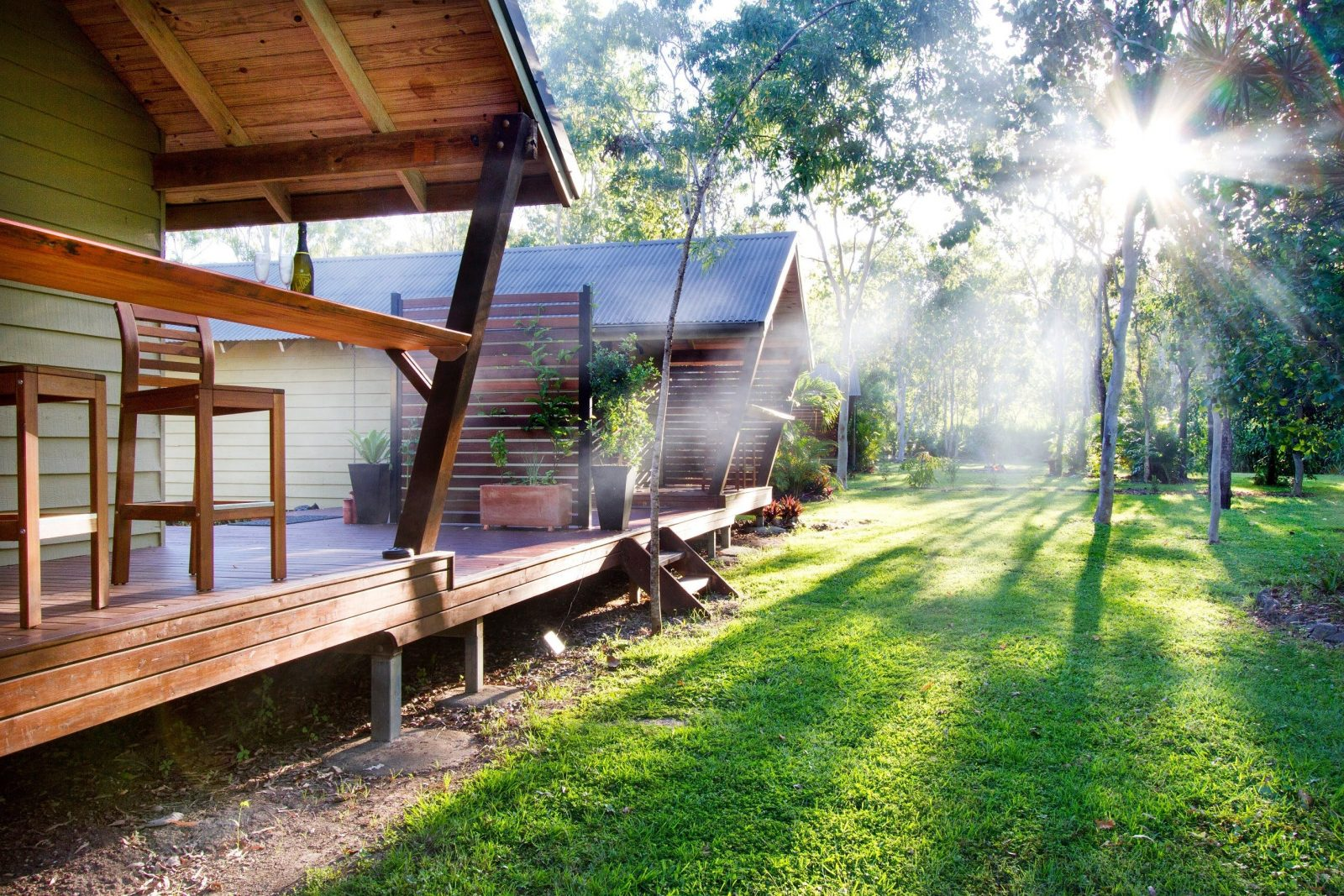 outside - in front of cabins