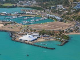 Aerial view of main tent at Airlie Beach Festival of Music