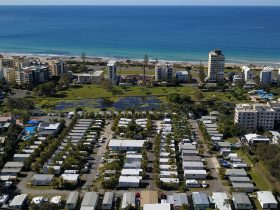 Sunshine Coast caravan park Alex Beach Cabins and Tourist Park aerial view