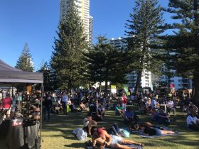 People enjoying the great out doors of the Gold coast at our Broadbeach Art and Craft market