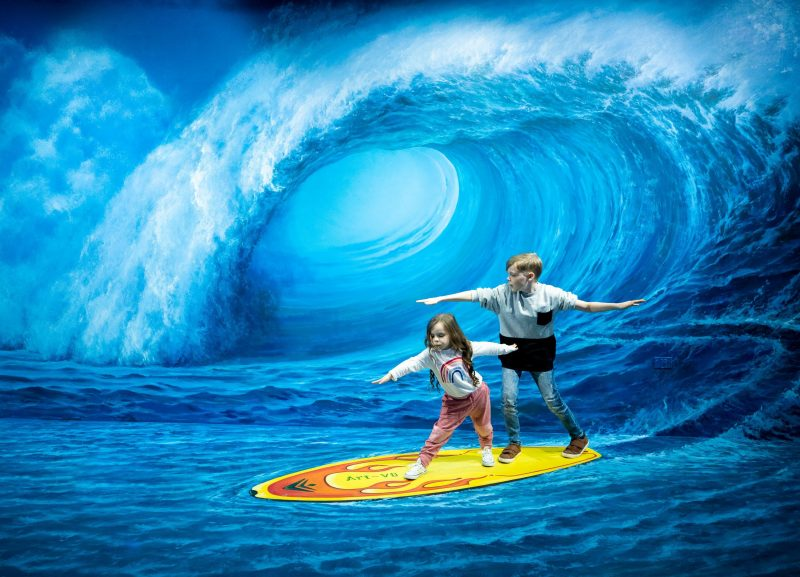 This art piece allows customers to Surf a pipleine wave without getting wet!