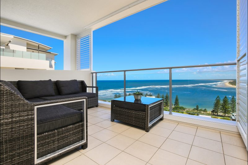 Balcony view from Tower one penthouse. Bulcock Beach and Bribie Island Coastline.
