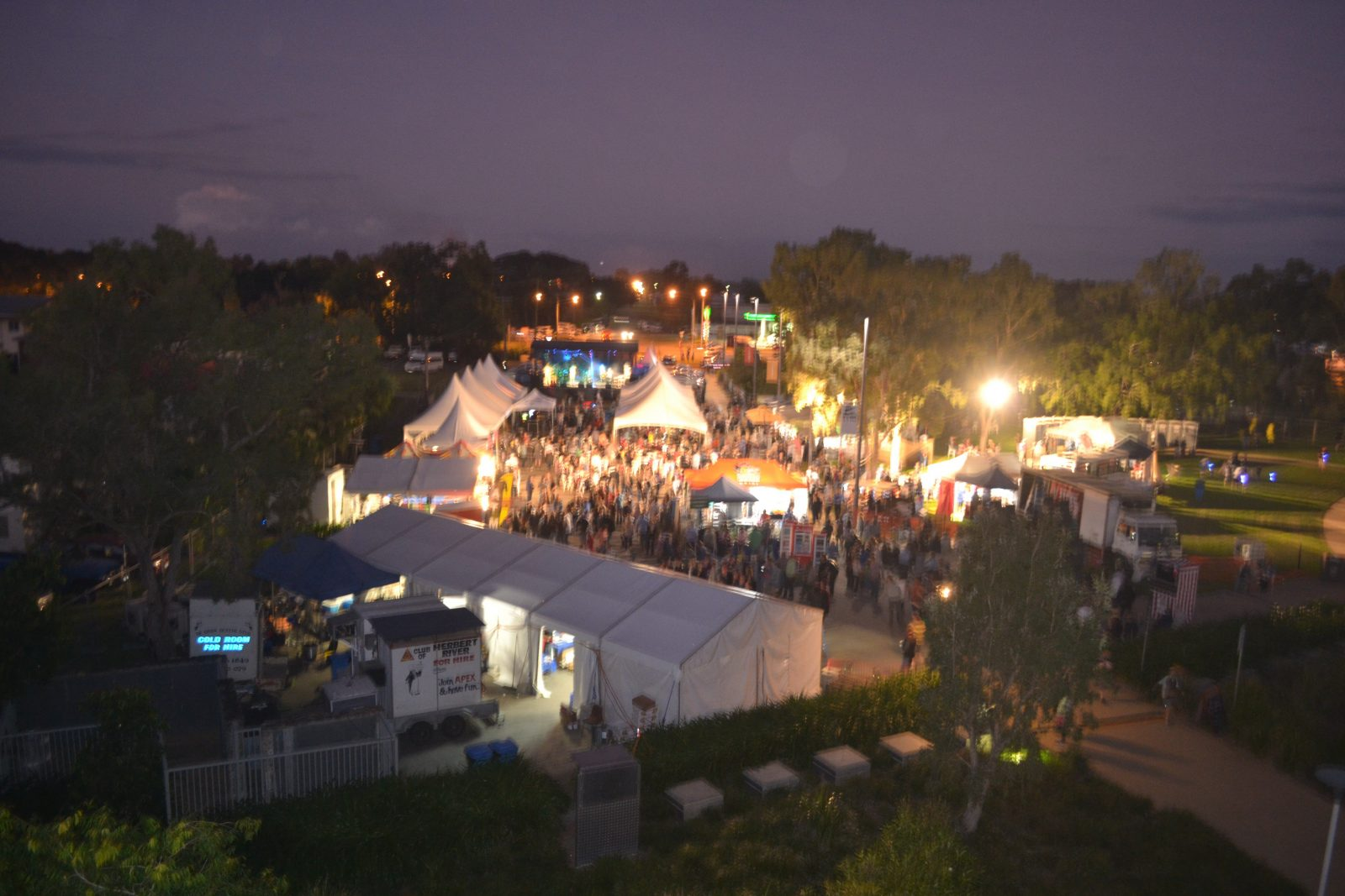 Night time shot showing main stage in bacground