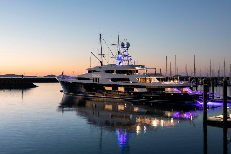 Superyacht berthed at Coral Sea Marina Resort