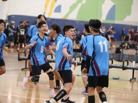 School celebrates after winning their match