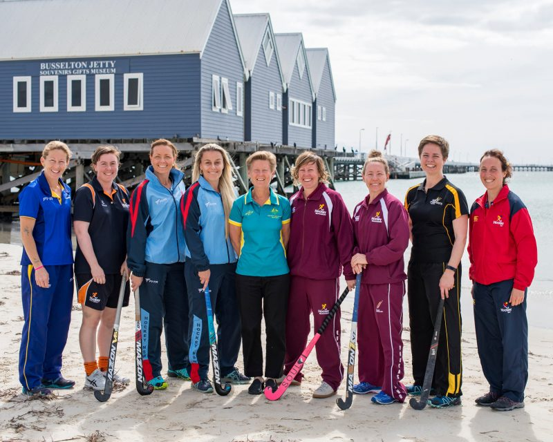 Women's Masters captains pose for a photo at the 2018 Championships in Busselton, WA