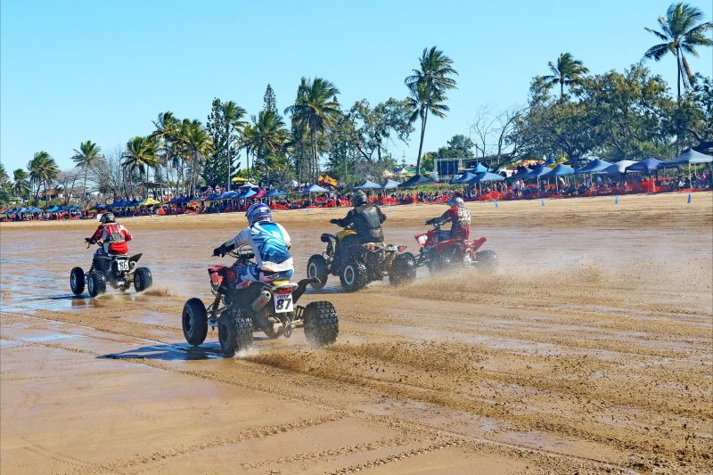 The quad are an awesome sight racing down the beach