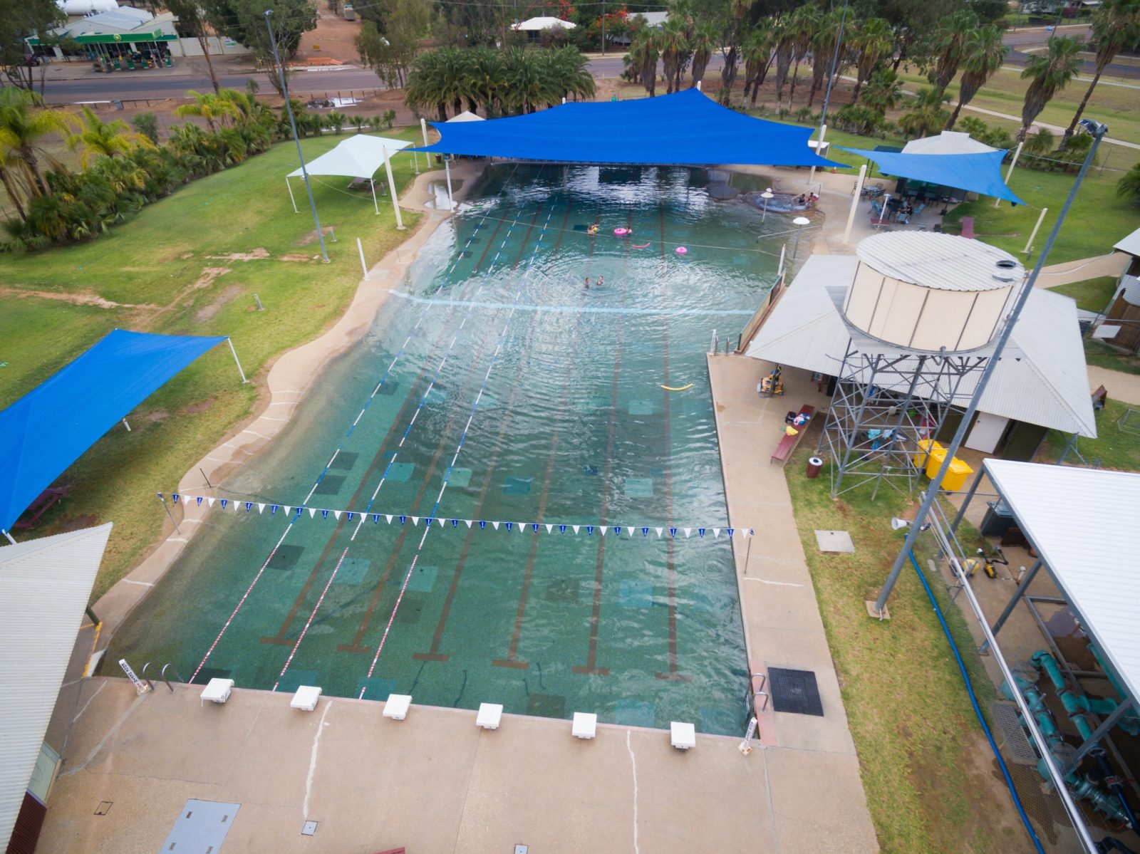 A view of the Blackall Aquatic Centre taken from the air.