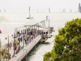 Shorncliffe Pier with views to the Brisbane to Gladstone Yacht Race
