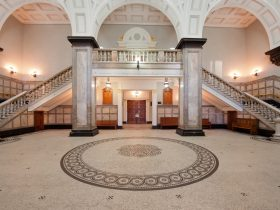 Brisbane City Hall foyer with marble staircase