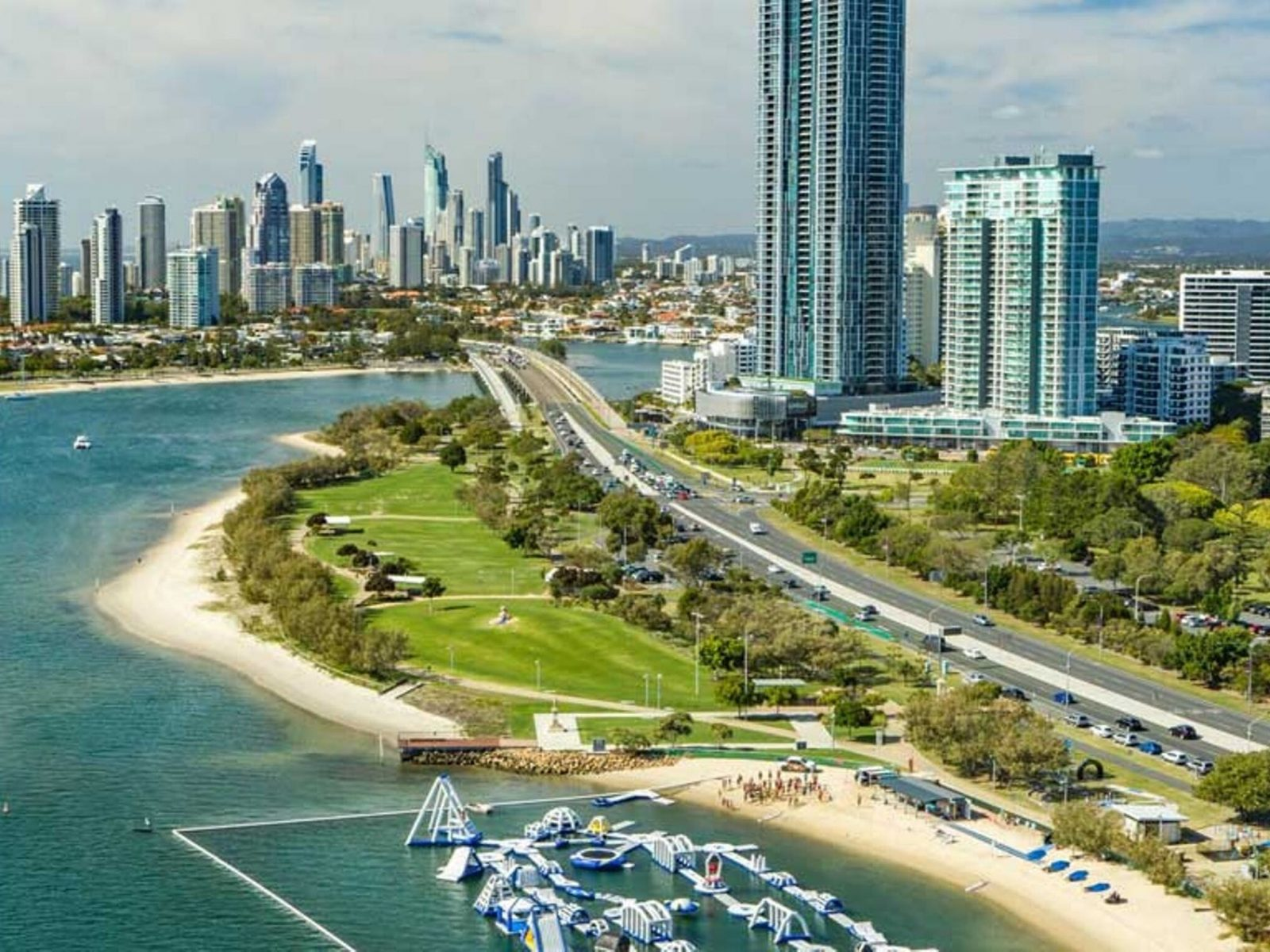 Skyline view of the Gold Coast from the Broadwater Parklands