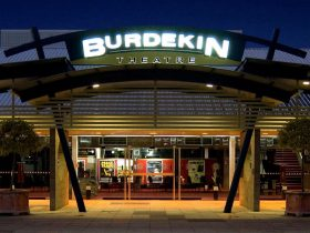 Front of Burdekin Theatre lit up in lights on show night