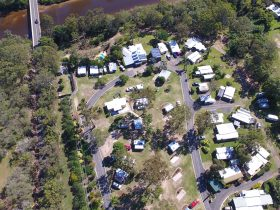 Aerial photo of Burrum River Caravan Park showing location beside the Burrum River bridge.