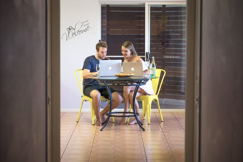 Studying in dining room area