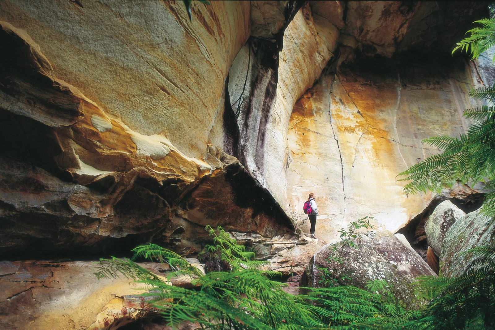 Person standing near sandstone cliff face in Cania Gorge National Park