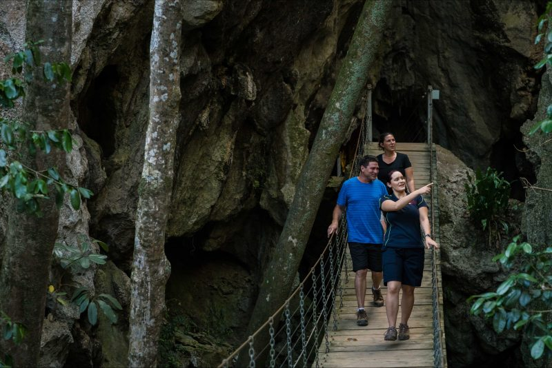 swinging bridge exit on cathedral cave tour