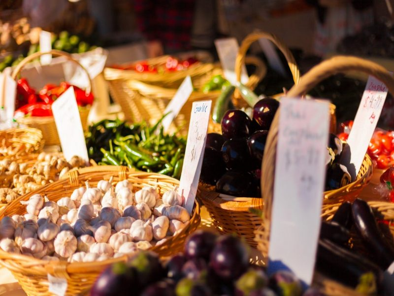 Fresh produce on display at a market stall