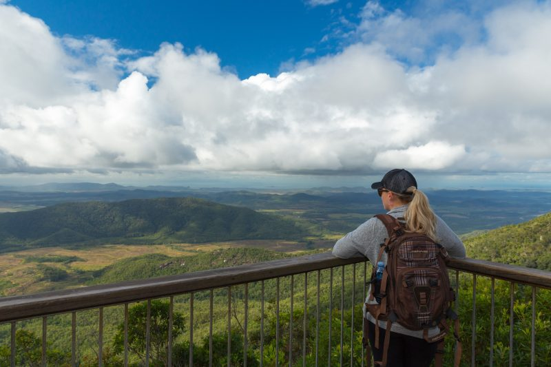 Person at lookout gazes at view over plain and distant mountains.