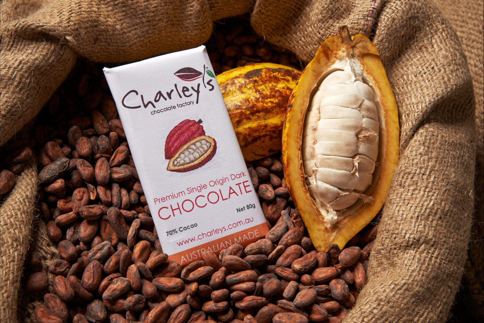 Charley's Chocolate, cocoa beans and cocoa pod