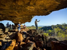Looking out over Chillagoe National Park with an Indigenous ranger