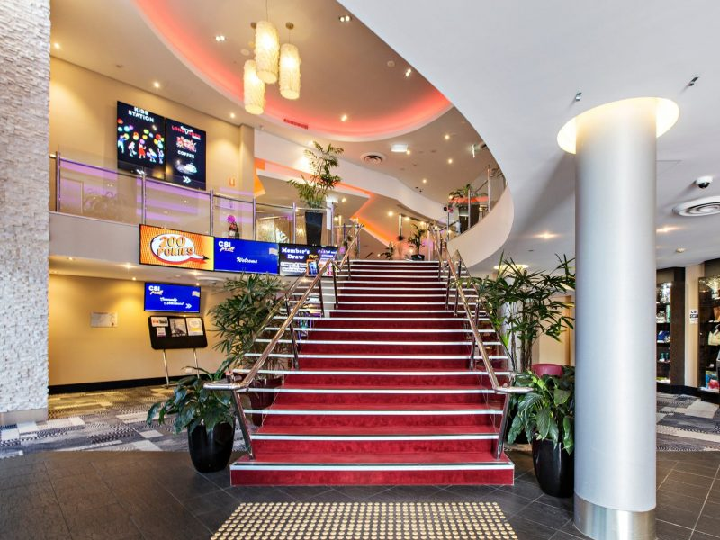 Staircase leading up to main bars bistro and entertainment areas. Main entrance into the Club