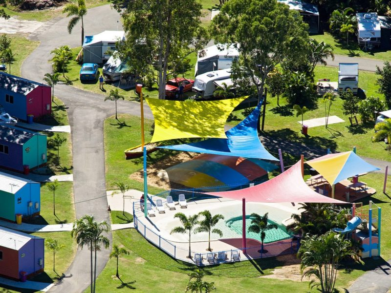 Birds Eye View of the spacious, tropical grounds, and family fun pool and park areas