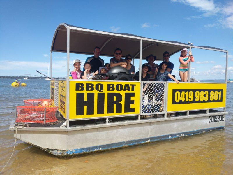 Their Barbecue Boat with a happy family