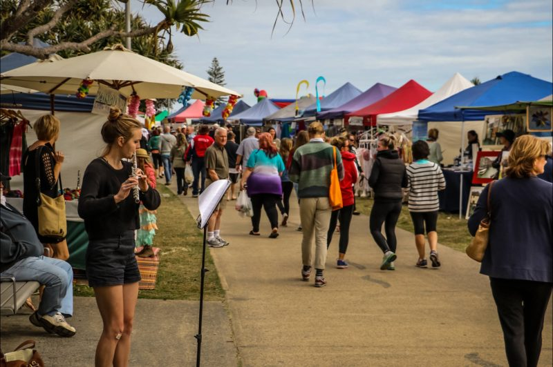 always awash with colour a scene of the Ocean way path at the Coolangatta Markets