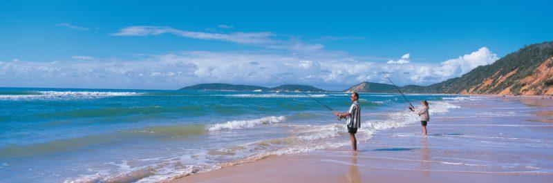 Fishing on beach, Cooloola