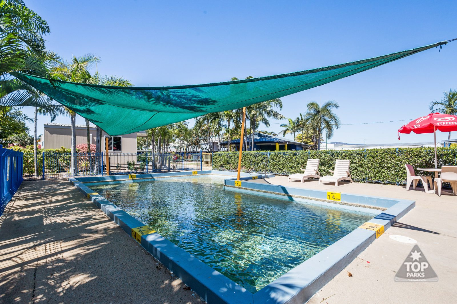 Sparkling salt water pool at Coral Coast Tourist Park Townsville