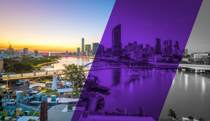 Brisbane City on sunset with the Curiocity Brisbane purple running across the shot