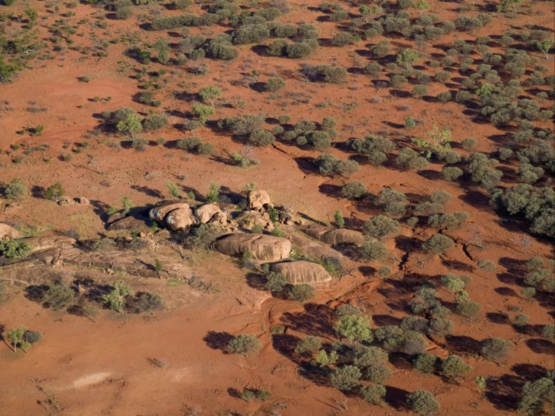Aerial view over woodlands, Currawinya National Park
