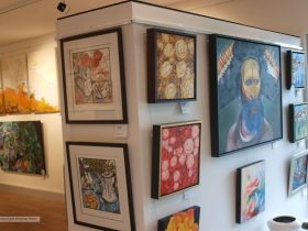 artworks hanging inside the Dayboro Art Gallery
