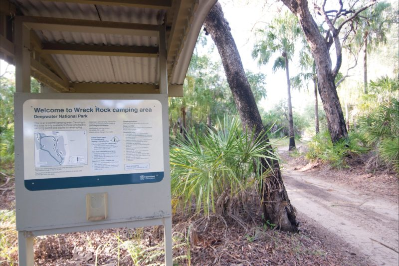 SIgn at campoing area entrance, Deepwater National Park