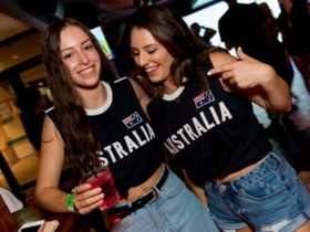 2 girls wearing australia shirts, australia day