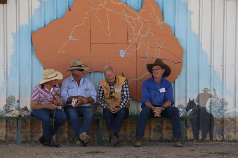 Mary, Jim Martyr, Terry Crowson and Larry Robinson having a yarn near the stock route map 2018