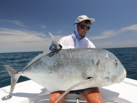 a really nice giant trevally caught and released on a surface lure.