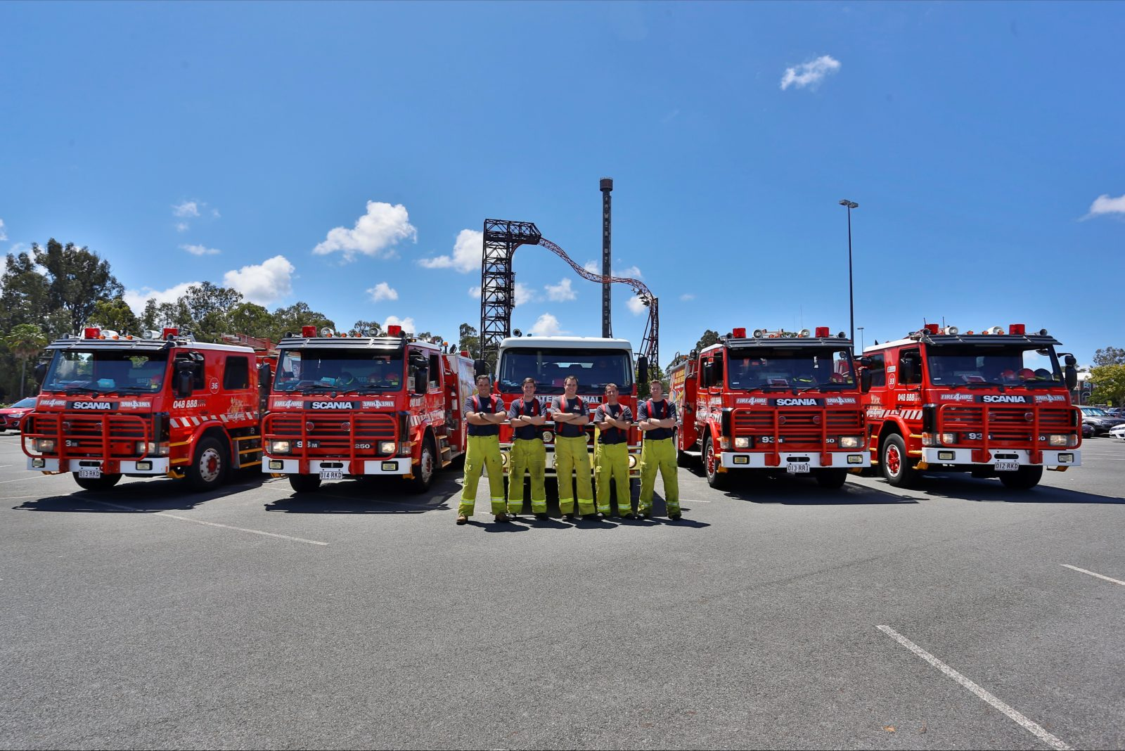 Fire trucks & firefighters available for tourism transport, airports, hotels, theme parks.