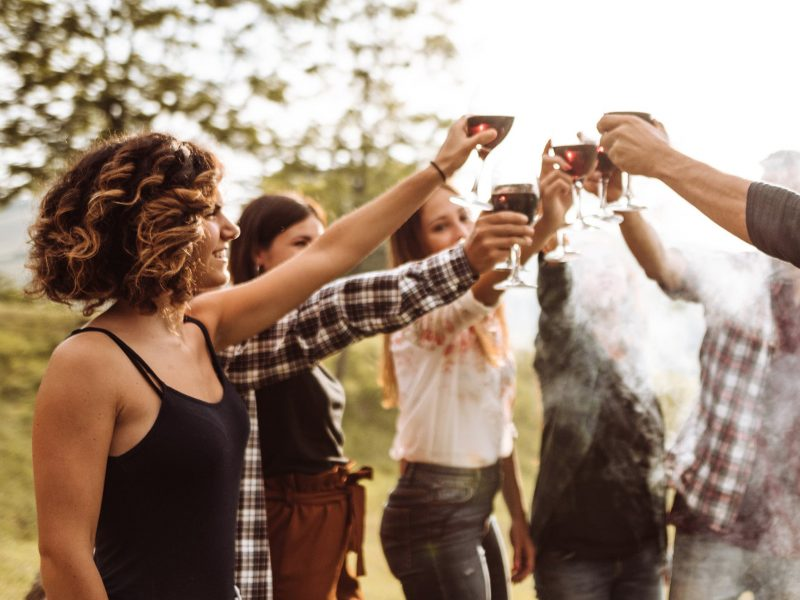 Group of people drinking wine in a field