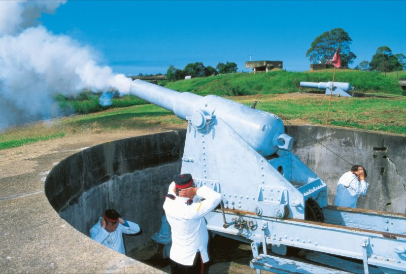 Actors inperiod costume firing the cannon, Fort Lytton.