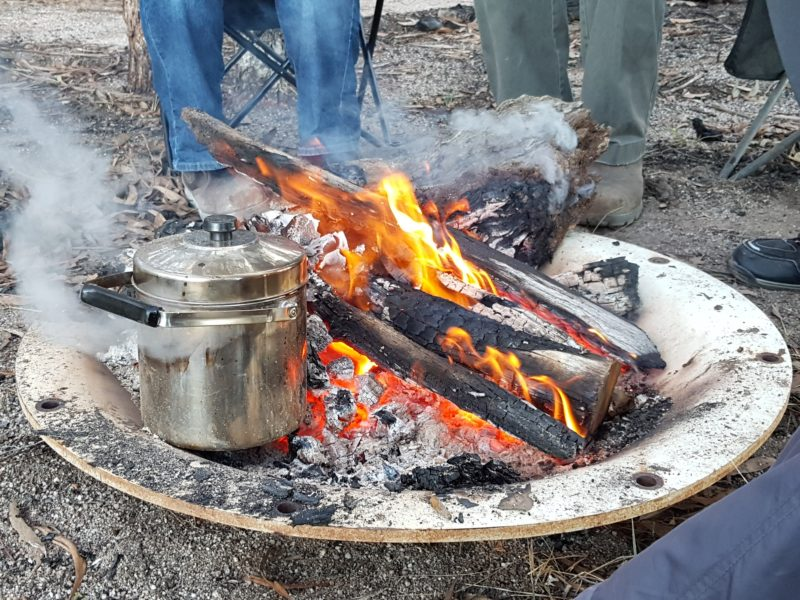 Campfires, cold country camping, tea