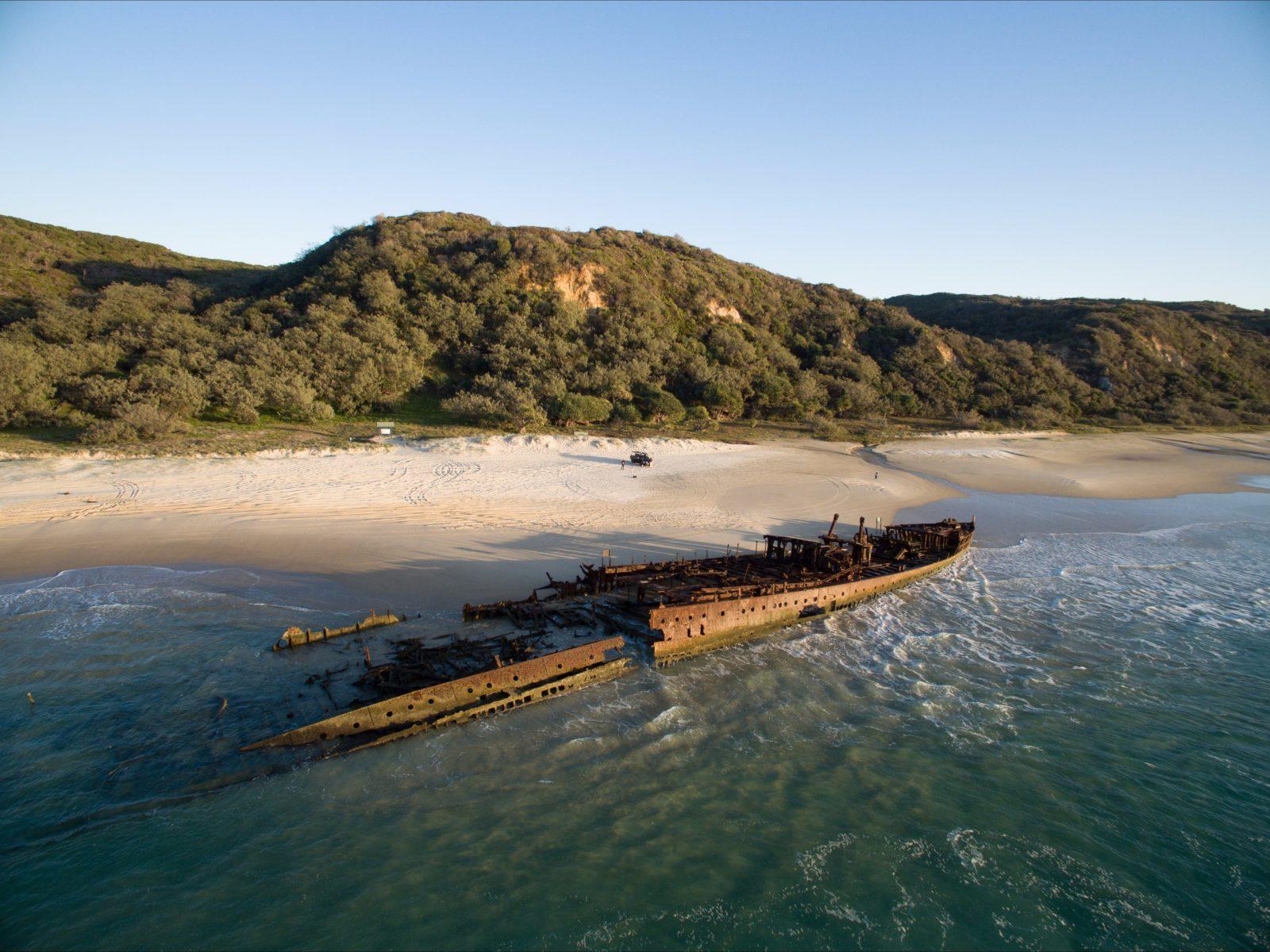 Maheno Shipwreck, World Heritage-listed Fraser Island, Fraser Coast.