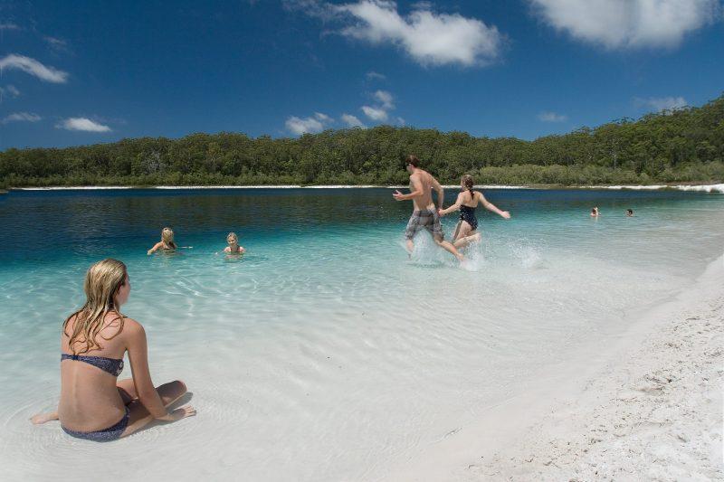Swimming at Lake McKenzie