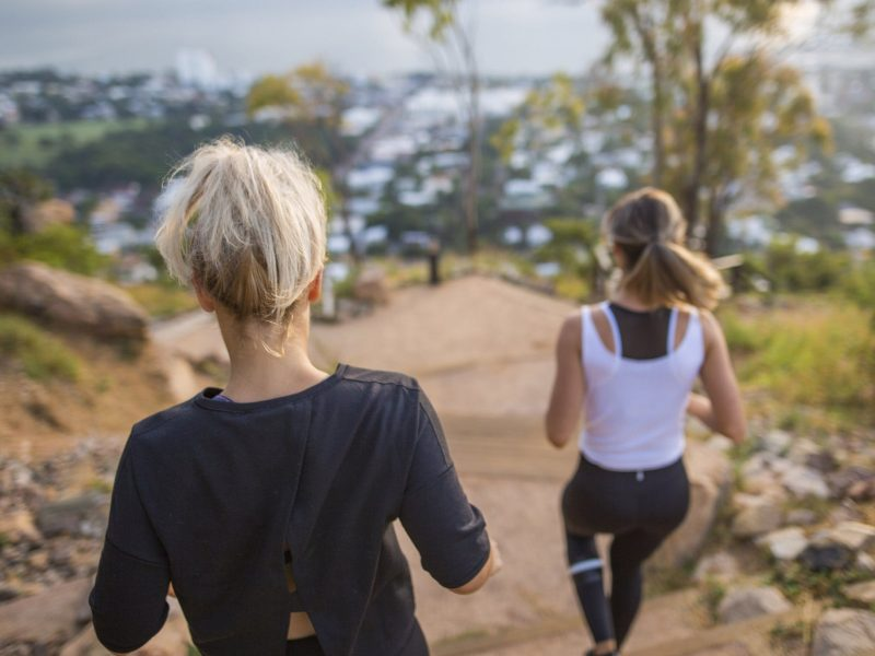 Exercising on Castle Hill